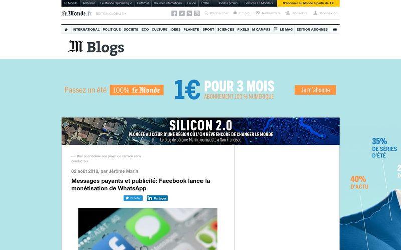 Silicon 2.0 : Facebook lance la monétisation de WhatsApp